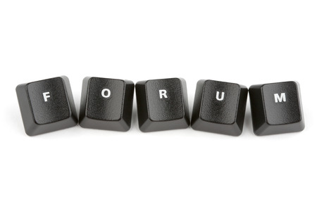 Word forum formed with computer keyboard keys on white  with shadow photo