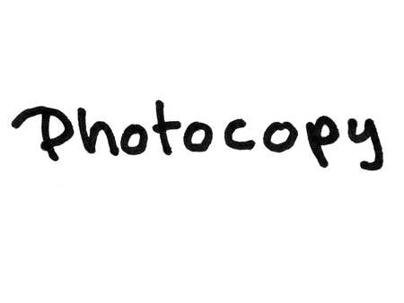 photocopy: Word photocopy handwritten with black marker isolated on white background
