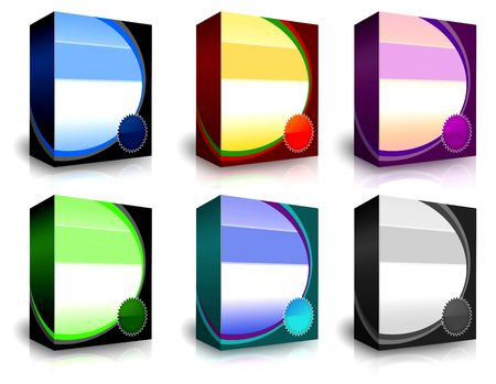 6 different 3d boxes that we can use to show our software and product package