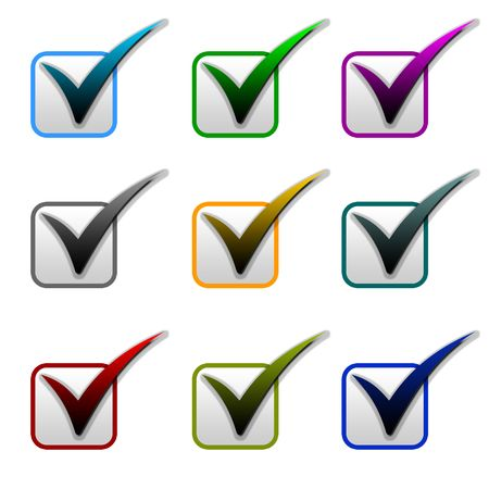 bullets: Different color of bullets and check marks to use for the website. Stock Photo