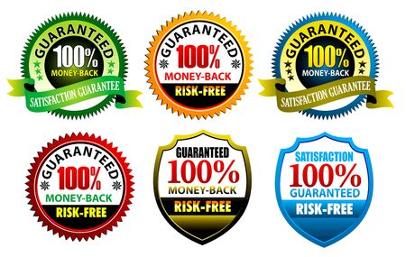 money risk: 100% satisfaction Guaranteed Seal to use for website. Stock Photo