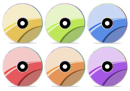 Different color of CD discs with stylish labels Stock Photo