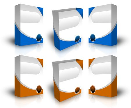 3d Product boxes to use for website in white background  Stock Photo