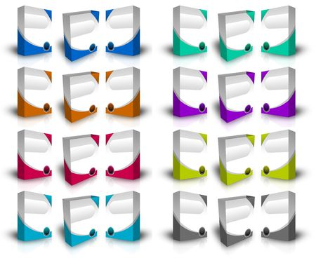 Diffirent color of virtual product boxes in white background