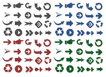 Different shape and color of arrows Stock Photo
