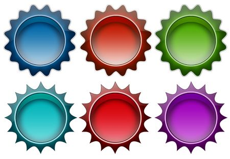 Color badges in white background to use for website Stock Photo