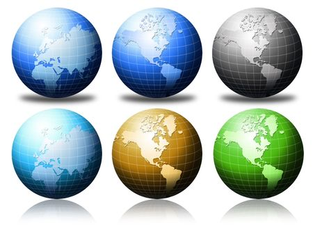 World global in different colors
