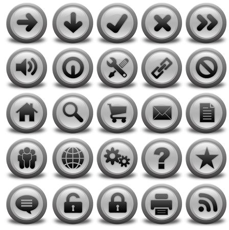 Modern website and interface icons on white background