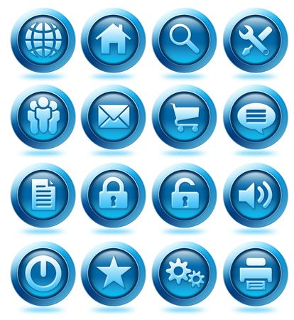 testimonial: Collection of website and interface icons on white background Stock Photo