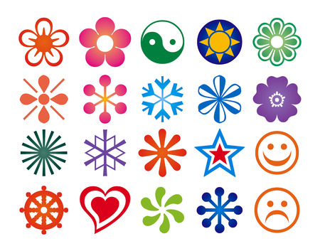 Cute stars and flowers in white background Illustration