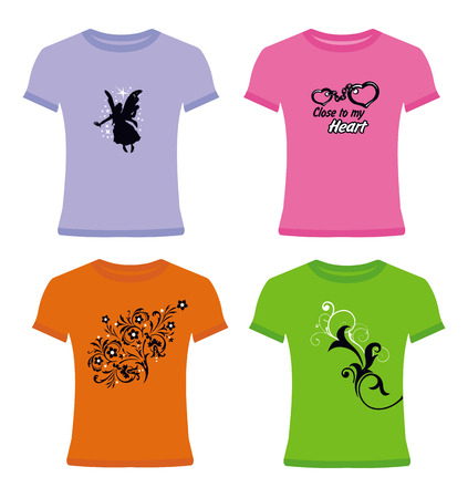 Modern vector t-shirts on white background