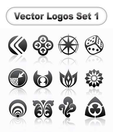 Vector logo collection on grey background Illustration