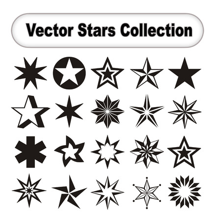 Vector start collection on white background