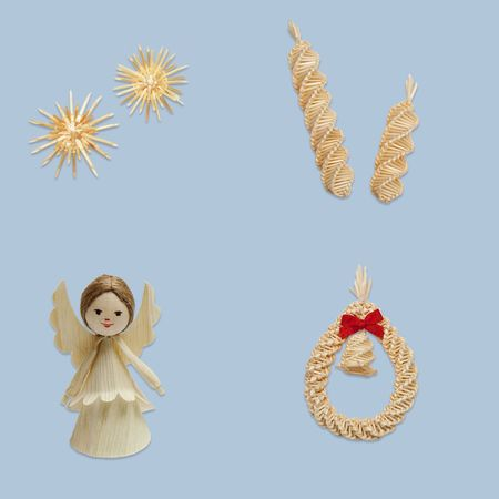 Sun, spiral, angel and wreath with bell photo
