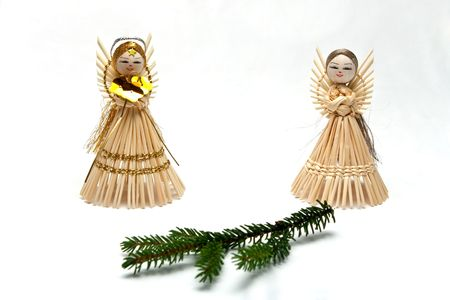 Straw angel with spruce branch  photo