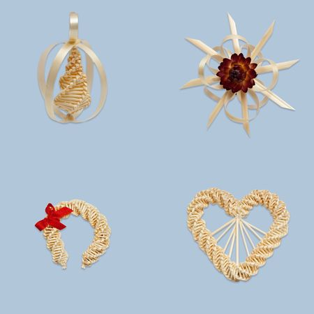 Drop, star, horseshoe and heart from straw  photo