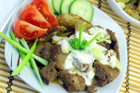 Gyros Greek specialty made from meat Stock Photo
