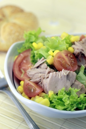 Vegetable salad with tuna in a bowl Stock Photo