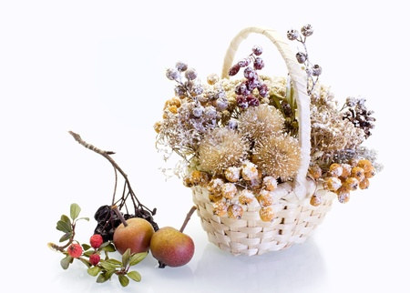 Winter decorations with fruit in the basket Stock Photo