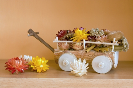 product with decorative flowers in a wheelchair