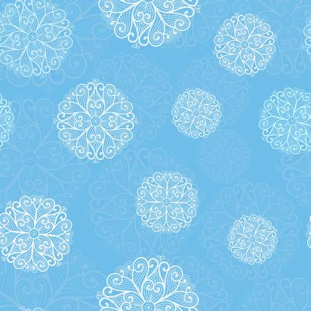 skyblue: White snowflakes on blue background. Christmas seamless pattern Illustration