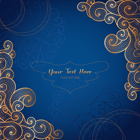 Vector card template with swirly gold ornament on dark blue background. Vector