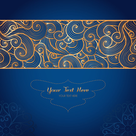 Vector card template with swirly gold ornament on dark blue background.