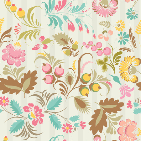 Stock vector seamless pattern with elements of floral ornament in folk style (Ukrainian folk art). Ethnic flowers in soft colors on the light background. Vector