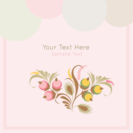 Stock vector card on light  background with floral ornament in folk style (Ukrainian folk art). Soft and lovely colors. Template frame design for card.  Can be used for packaging, invitations, Valentines Day, decoration etc. Vector