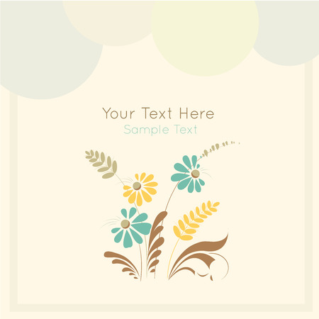 desaturated colors: Stock vector card on light  background with floral ornament in folk style (Ukrainian folk art). Soft and lovely colors. Template frame design for card.  Can be used for packaging, invitations, Valentines Day, decoration etc.