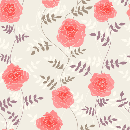 Seamless background with stylized floral ornament - pink poses with their stems and leaves on light tan background. Vector illustration Vector