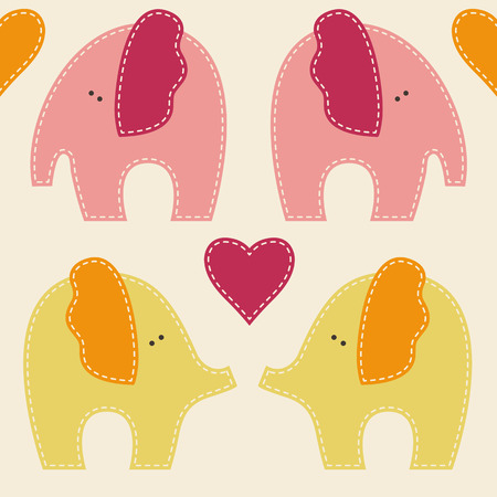 carmine: Vector seamless pattern with cute elephants. Cartoon childish animals in soft and warm colors on light background.