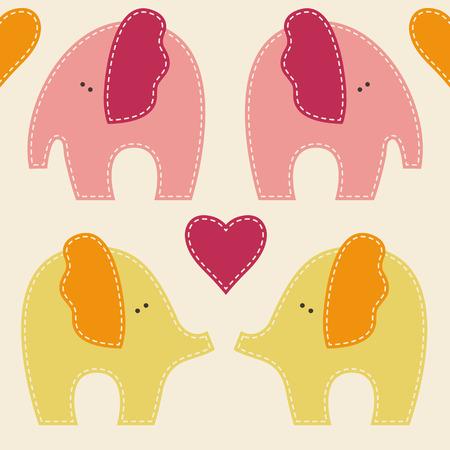 carmine: Vector sin patr�n con elefantes lindos. Animales de la historieta infantil en colores suaves y c�lidos sobre fondo claro. Vectores