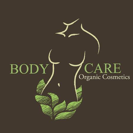 自然オーガニック化粧品エンブレム。凸凹のある女性の形と緑の葉で手描きのエコデザイン  イラスト・ベクター素材