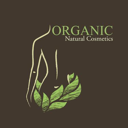 Natuurlijke  biologische cosmetica emblemen. Handgetekende ecodesign met de vorm en de groene bladeren van de contouren vrouw Stock Illustratie
