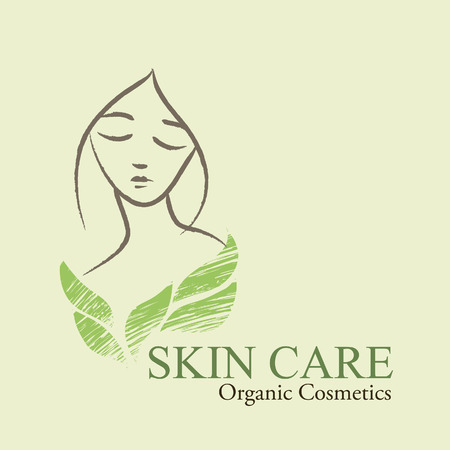 skin face: Natural  organic cosmetics emblems. Handdrawn ecodesign with contoured womans face and green leaves