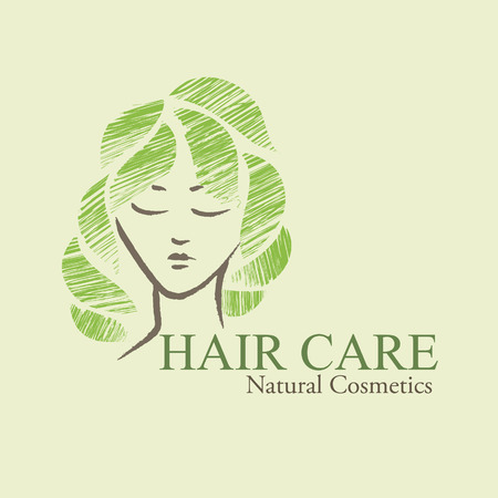 green hair: Natural  organic cosmetics emblems. Handdrawn ecodesign with contoured womans faceand green leaves
