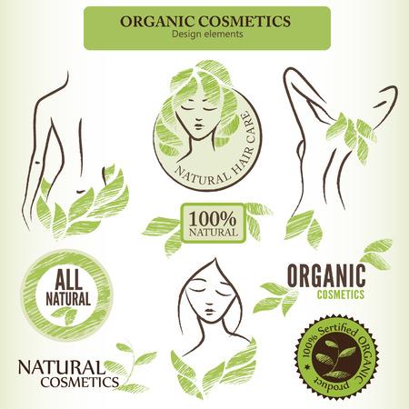 productos naturales: Conjunto de cosmética natural  orgánica etiquetas, insignias y pegatinas Vectores