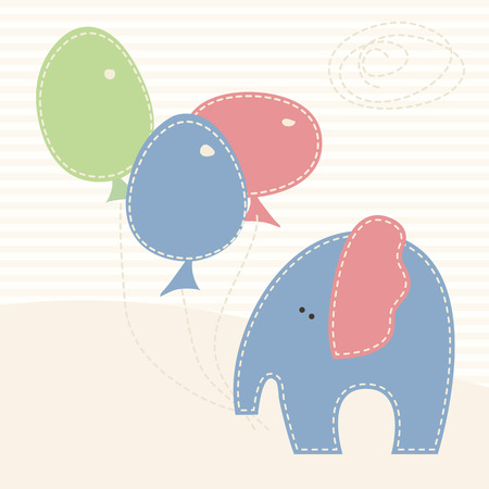 seams: Baby elephant with colorful baloons on the stylized background. Cute cartoon vector illustration in hand-sewn style with white seams. Soft pastel colors.