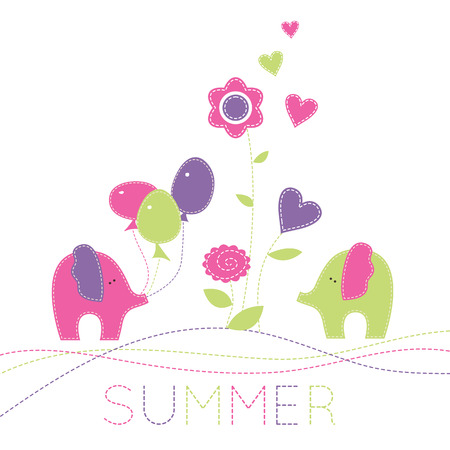enamored: Two enamored baby elephants with colorful baloons and summer flowers. Cute cartoon vector illustration in hand-sewn style with white seams.  Bright fresh colors.