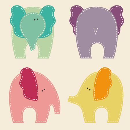 carmine: Conjunto de elefantes lindos en diferentes vistas (frontal, posterior, laterales). Ilustraci�n vectorial Vectores