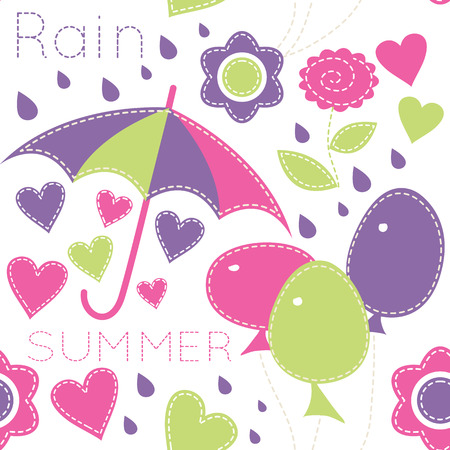 Vector seamless pattern with  balloons and umbrellas decorated by flowers, hearts and summer rain drop. Cartoon childish animals in soft colors on light background. Hand-sewn style with white seams Vector
