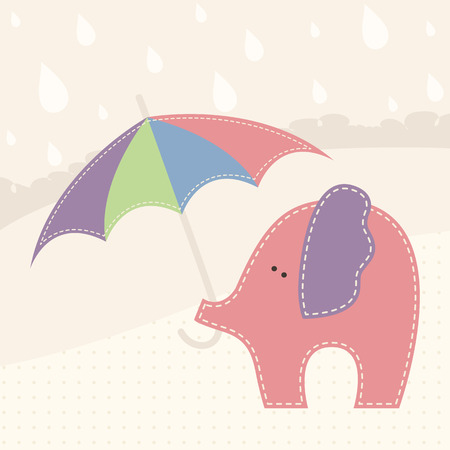 Baby elephant with colorful umbrella in a rainy day. Cute cartoon vector illustration in hand-sewn style with white seams. Soft pastel colors. Vector