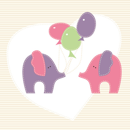 enamored: Two enamored baby elephants with colorful baloons on the stylized background  with heart. Cute cartoon vector illustration in hand-sewn style with white seams. Soft pastel colors. Illustration