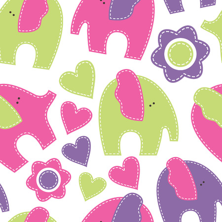 fresh colors: Vector seamless pattern with elephants decorated by flowers and hearts.Cartoon childish pattern in bright fresh colors on white background. Handsewn style with white seams