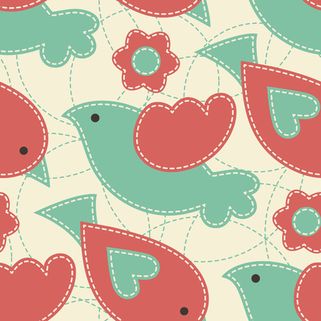 desaturated colors: Vector seamless pattern with birds decorated by flowers and dashed rings.Cute cartoon childish pattern with light seams. Soft desaturated colors (red, turquoise).