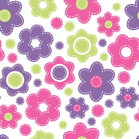 Vector seamless pattern with bright flowers.Cartoon childish texture in fresh colors (pink, violet, green) on a white background. Hand-sewn style with white seams