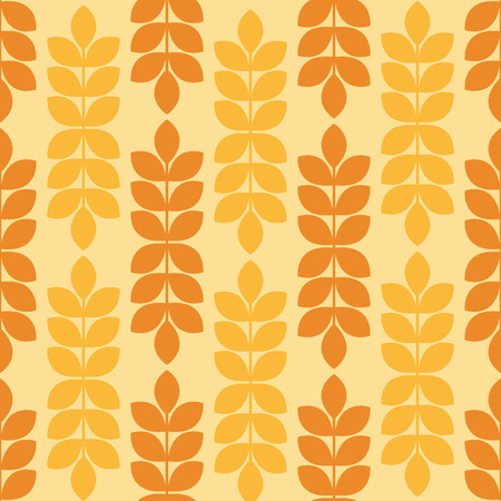 tints: Vector seamless pattern with ripe ears of wheat. Minimalistic design and warm yellow tints. Endless texture can be used for wallpaper, fill, web background, wrapping, packaging etc. Stock Photo