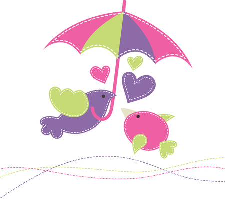 fresh colors: Two baby birds with a colorful umbrella. Cute cartoon vector illustration in hand-sewn style with white seams.  Bright fresh colors. Stock Photo