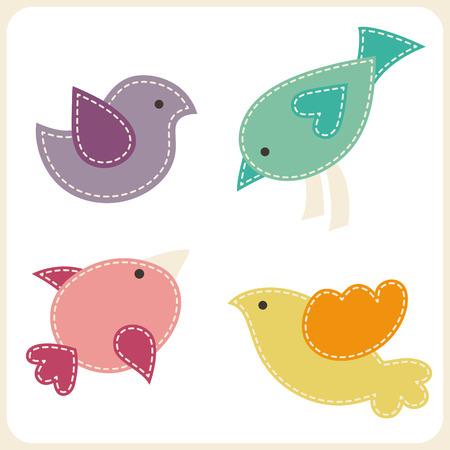 pajaro caricatura: Conjunto de pájaros lindos. Apliques estilizado con costuras blancas. Elementos de diseño vectorial Childish Foto de archivo